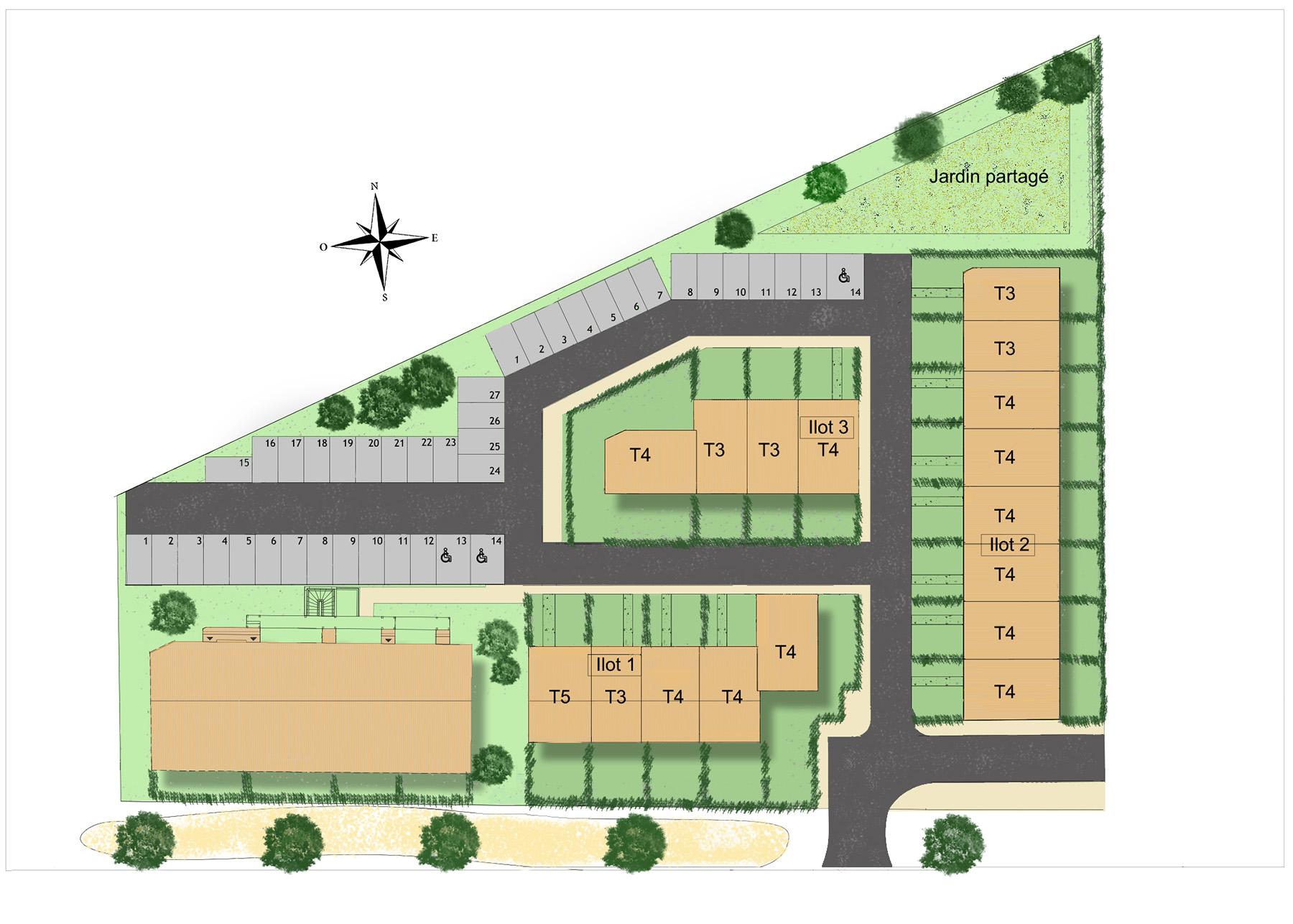 Maisons neuves, louviers, parking, jardin partagé